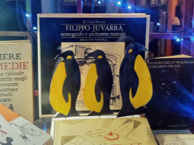 A few penguins at the bookstore.