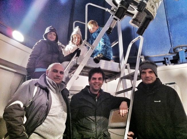 Sergio, Matt and Alessandro  in the observatory with the kids