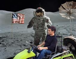 "Matt driving the ""Moon Rover"" on the set.  It's actually an Italian made ATV.  How ironic is that!?"