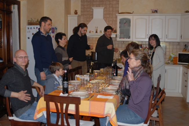 The huge table filled the entire kitchen