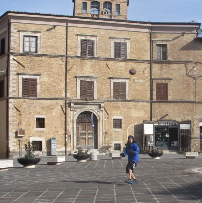 I played catch with my dad in the main piazza