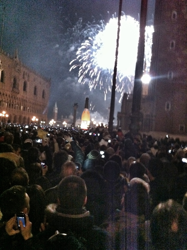 New Year's Eve in Venice.  We joined thousands in Piazza San Marco for the countdown.  The crowds were so great needed to hold hands so as not to get separated.  Even so, we lost Matt.  New Year's is crazy.  Over 350 people were injured in Italy.  And two deaths.  We returned to our hotel by 12:30 and watched the chaos from the window.