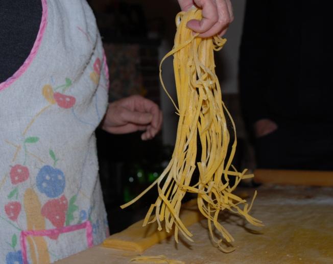 ribbons of hand cut egg pasta