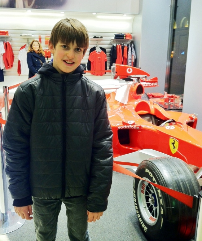 We went to the Ferrari store in Rome.