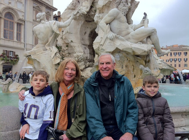 Gramma and Grandpa with the kids here in Rome