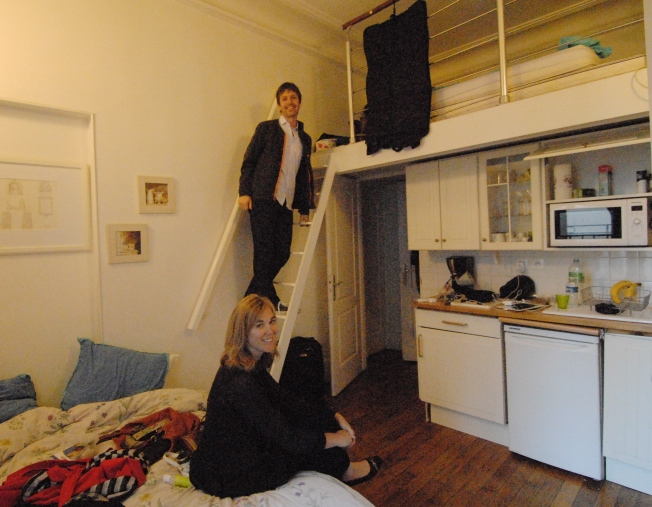 Lynn find a place to sit on our bed while Deac finds space on the ladder