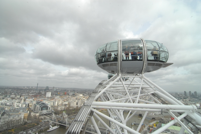 Build for the 2012 Olympics, the Eye of London is a half hour Ferris wheel ride high over the city.