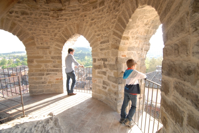 At the top of the bell tower