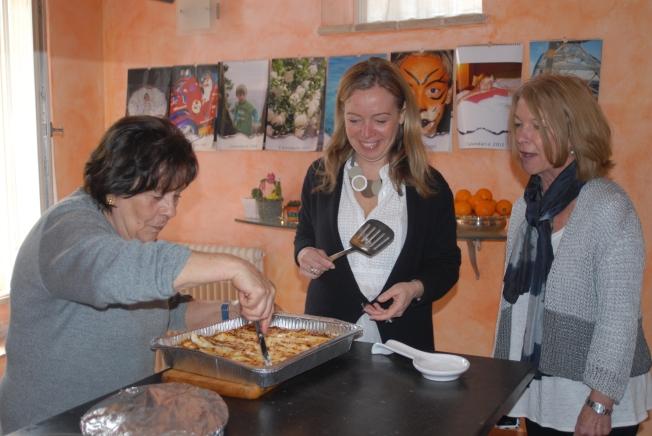 Milena's mamma serves cannelloni.