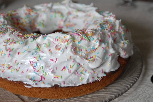 """""""Ciaramicola"""" - the rainbow sprinkled, meringue frosted Easter specialty of Perugia."""