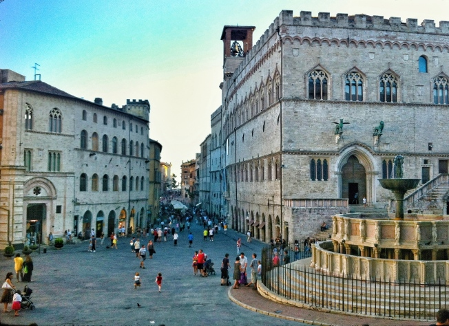 Corso Vanucci stretching across the historic center of town