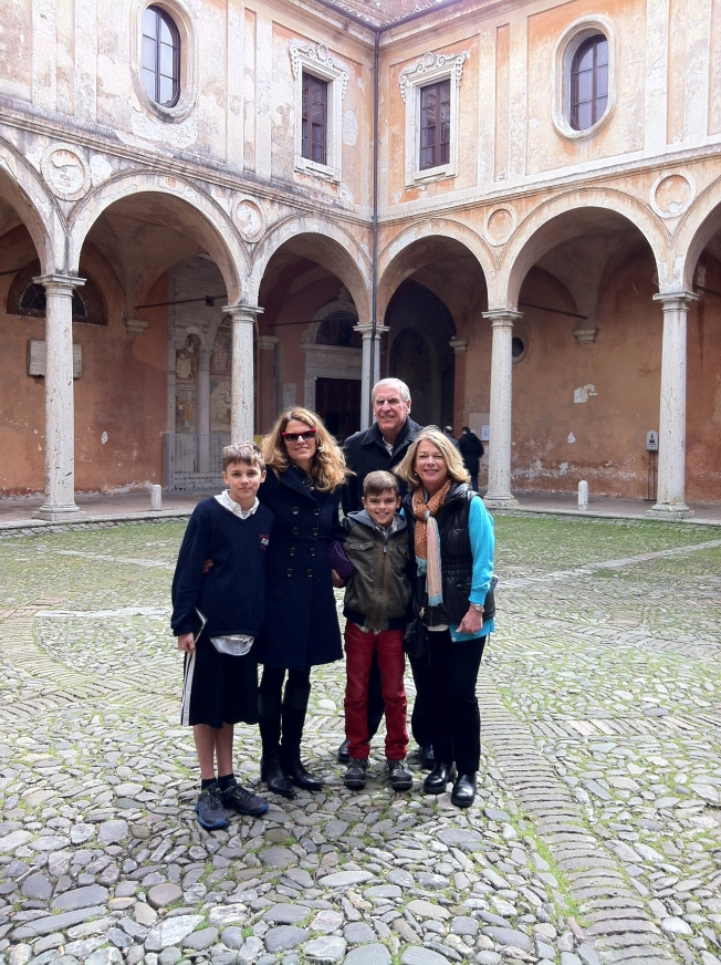 Easter Sunday with my parents in the courtyard of San Pietro