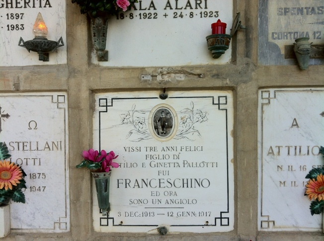 """He lived for three happy years.  The son of Atilo and Ginetta.  He was Little Francis.  Now he is an angel."""