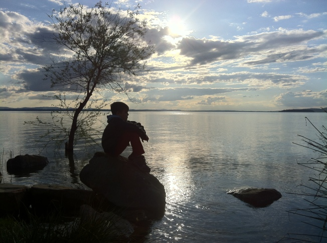 Sitting by Lago Trasimeno