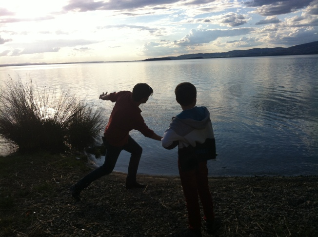 Me and Dad skipping rocks