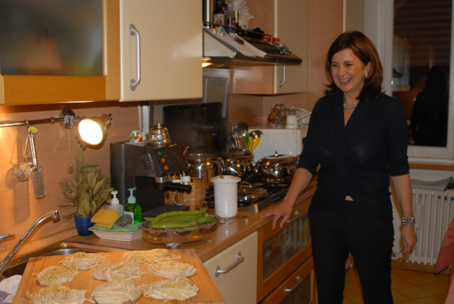 Last week we had dinner with several friends at Chiara and Enrico's house.  Chiara made homemade tagliatelle that afternoon.
