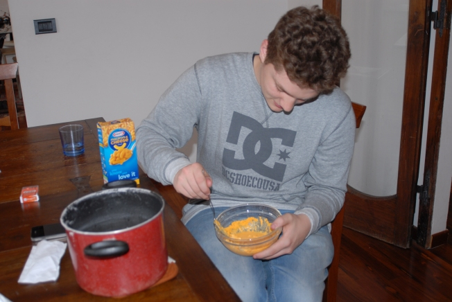 One afternoon we made a box of Kraft mac and cheese that one of our American guests brought over.  Pretty funny.