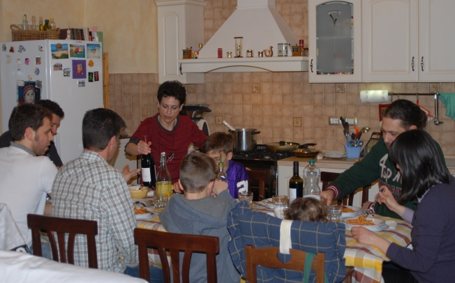 When we eat with Paola's family, we are served traditional Umbrian specialties like pasta with wild boar.