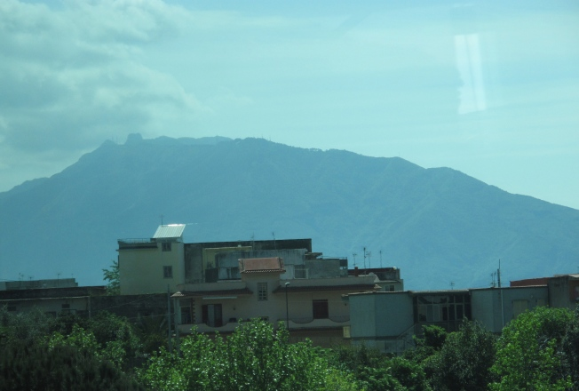 Mt. Vesuvius from the window of our bus.