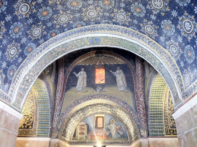 Hundreds of thousands of pieces of colored glass make the ceiling of this centuries old mausoleum.