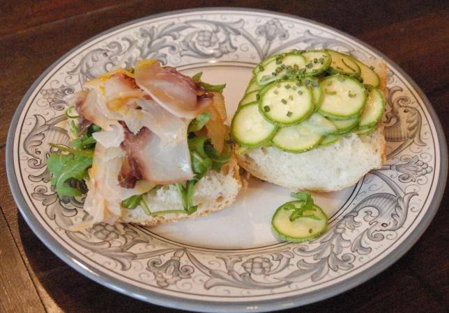 a sword fish and zucchini sandwich