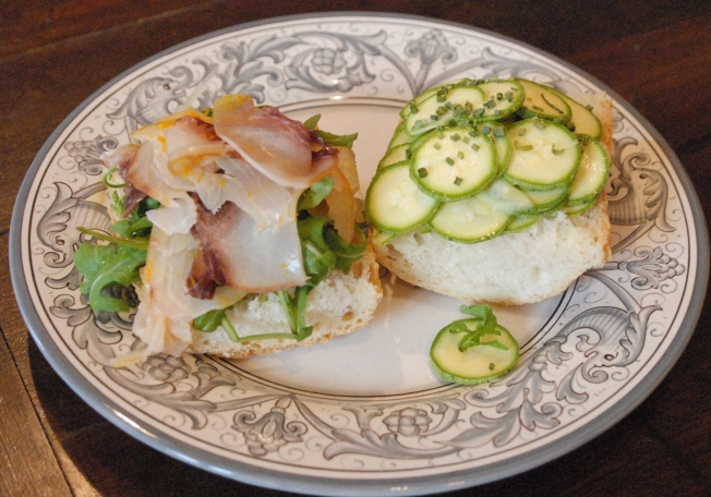 a sword fish and zucchini sandwich