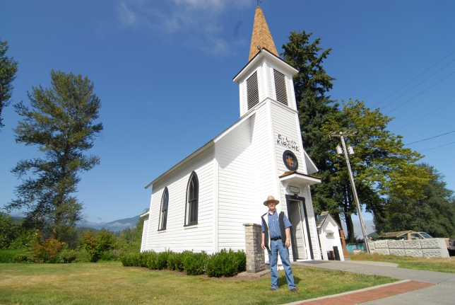 Before we even entered Mt. Rainier National Forest, we followed the advice of our guidebook and stopped in the town of Elbe (pronounced like the Tuscan island!)  The towns claim-to-fame is an old church (of all things).  The on-site caretaker, Dick, showed us around and provided some history.  It turns out, this is one of the smallest churches in the world!
