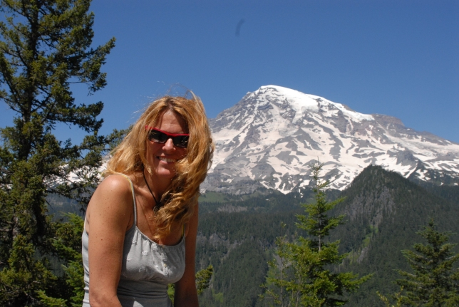 We picnicked on mozzarella salami sandwiches at Richsecker Point in front of a goose bump view of Mt. Rainier.