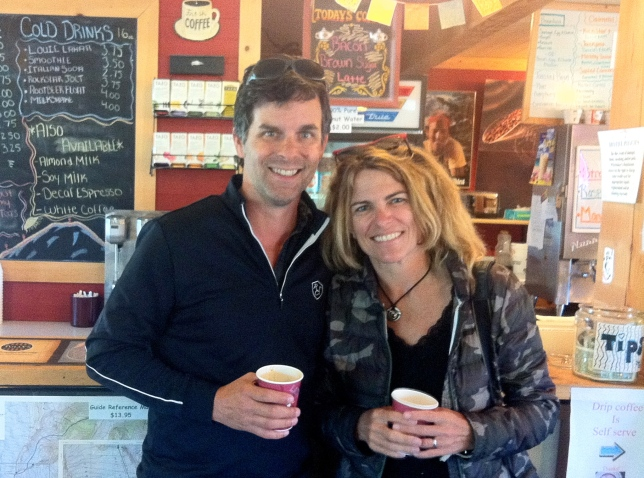 """Meticulously following the itinerary of our Lonely Planet guide, we stopped in Ashford for espresso at Whitaker's Bunkhouse.  We declined the tempting daily special written on the blackboard behind us, """"Bacon Brown Sugar Latte."""""""