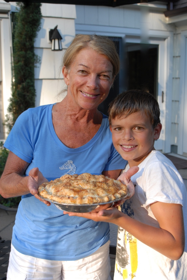 My mom picked blackberries and made many pies with the boys.